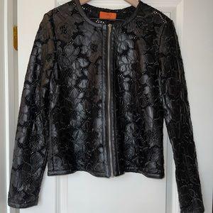 Vegan Leather Embroidered Lightweight Jacket